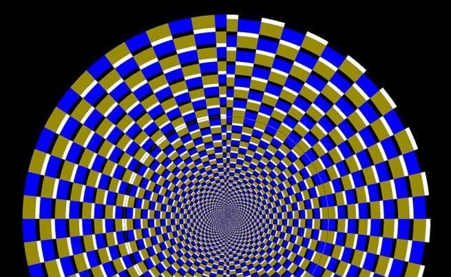 Погледнете в центъра на тази фигура. Тя изглежда като сложен модел и нищо повече. Но когато погледнем извън центъра, тя започва да се движи.