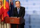 Генералният секретар на ООН Бан Ки-мун говори след срещата на Съвета за сигурност