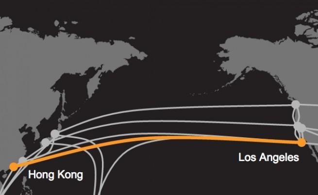 Карта с подводните интернет кабели през Тихия океан, в които Google има участие