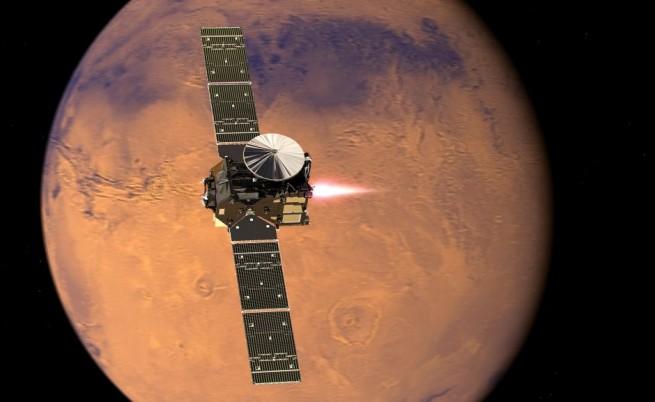 Илюстрация на апарата TGO в орбита около Марс