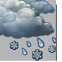Облачно с краткотрайни превалявания от мокър сняг