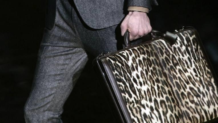 Мъжка чанта от леопардова кожа висша мода Сами преценете