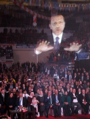 Холограмата на Ердоган на партийното събрание през януари