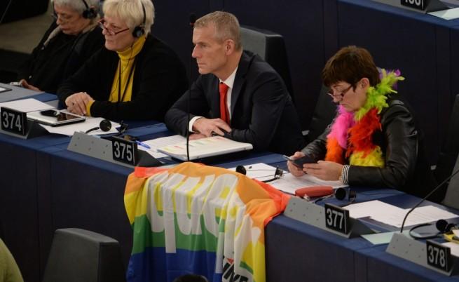 Депутати от ЕП разпънаха знаме с цветовете на дъгата, асоциирано с правата на хомосексуалните, преди пристигането на папата в ЕП