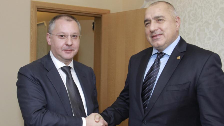 Премиерът Бойко Борисов и лидерът на ПЕС Сергей Станишев