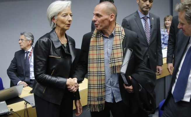 Янис Варуфакис и управляващия директор на МВФ Кристин Лагард