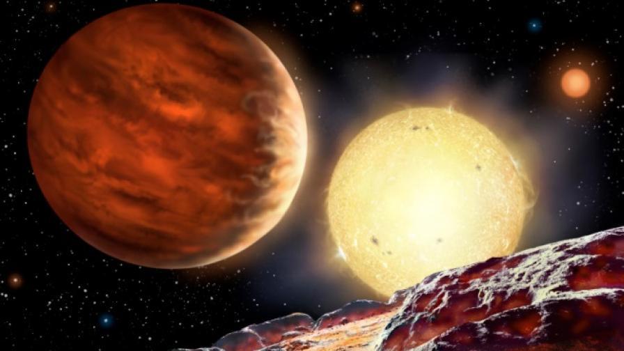Рисунка на планетата WASP-142b, видяна от хипотетична луна
