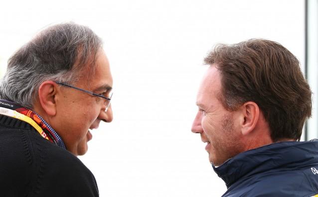 Серджо Маркионе и шефът на Ред Бул Кристиан Хорнер<strong> източник: Gulliver/Getty Images</strong>