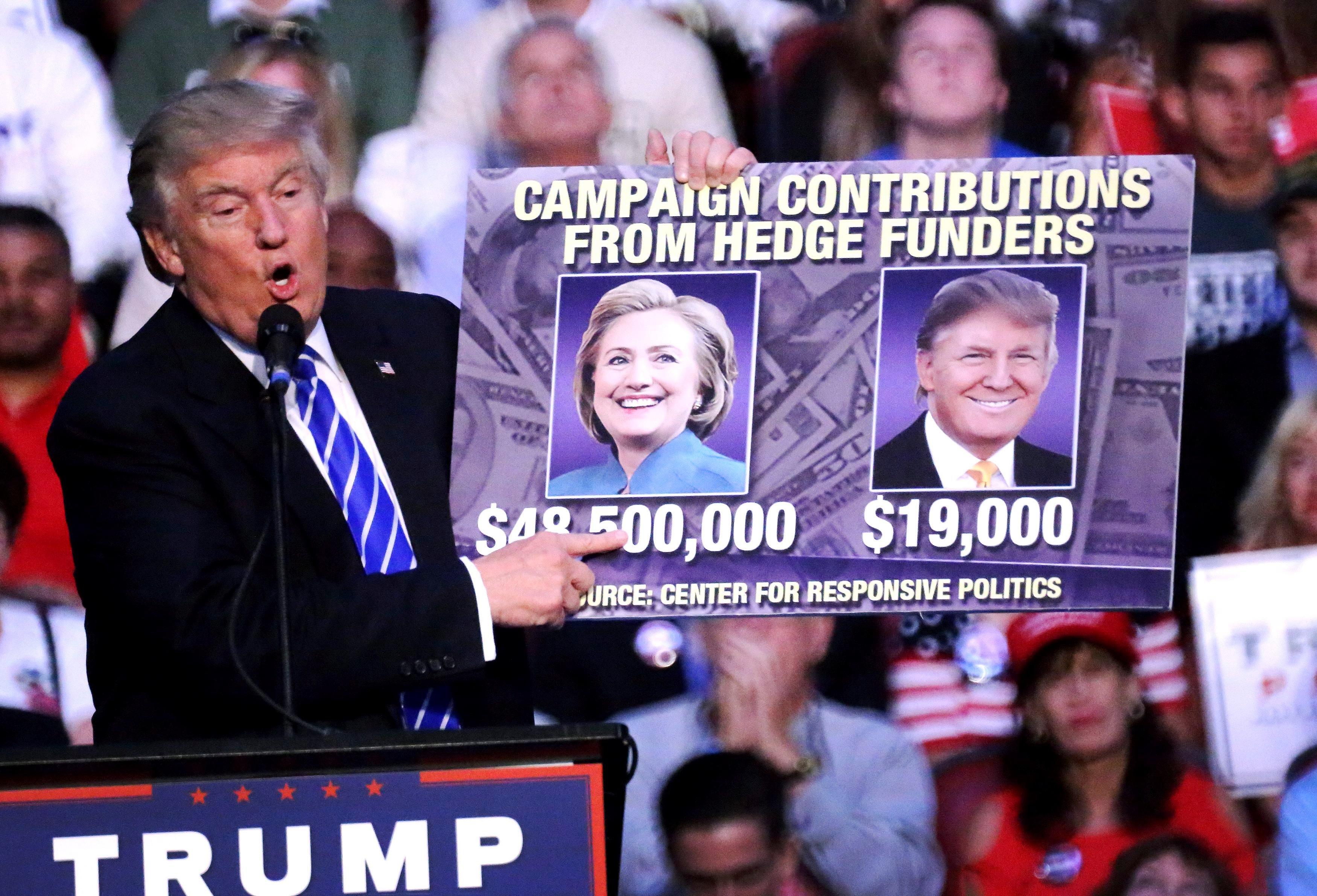 Доналд Тръмп показва колко пари е получил за кампанията си той и колко опонентът му за Белия дом Хилари Клинтън от хедж фондове