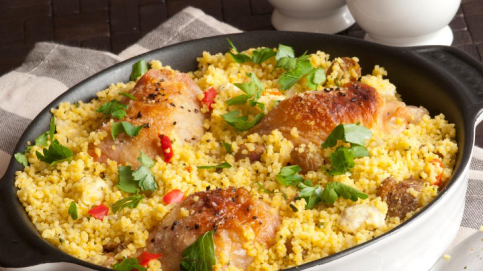 Пикантно пиле с кус-кус и магданоз