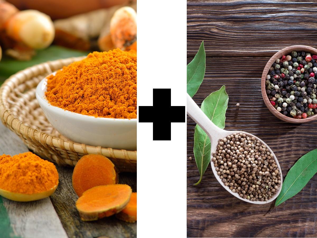 Куркумата и черният пипер също са добра комбинация. Куркуминът в куркумата има противовъзпалителни свойства, но се усвоява трудно. Това става по-лесно при наличието на пиперин, на който е богат черният пипер.