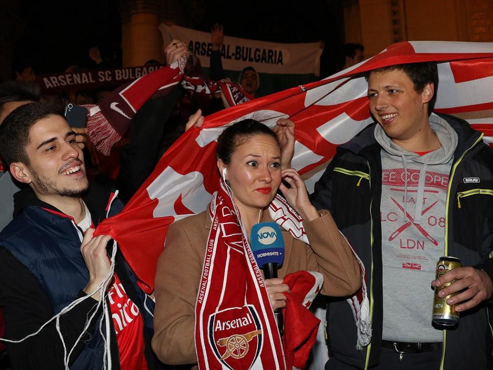 """- Феновете на Арсенал с шествие към стадион """"Васил Левски"""""""