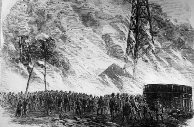 Резултат с изображение за първият нефтен кладенец в света.