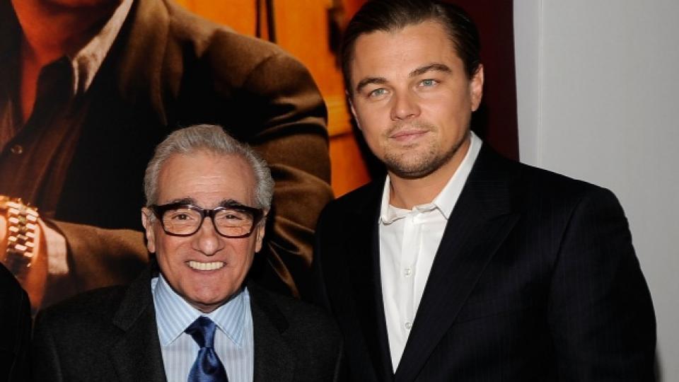 """Мартин Скорсезе и Леонардо ди Каприо по време на парти в Ню Йорк през 2010 г., свързано с премиерата на филма """"Злокобен остров"""""""