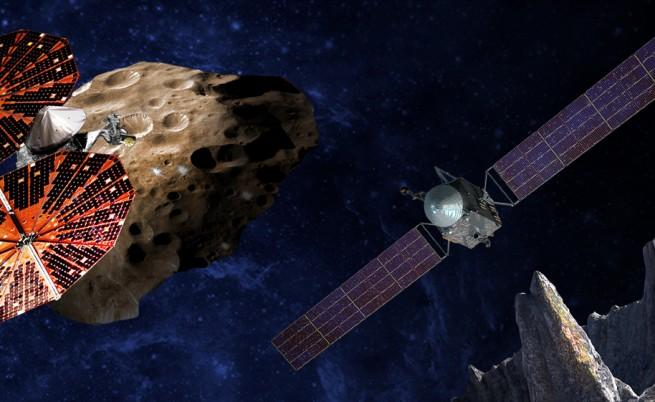 Илюстрация на двата космически апарата Lucy (вляво) и Psyche