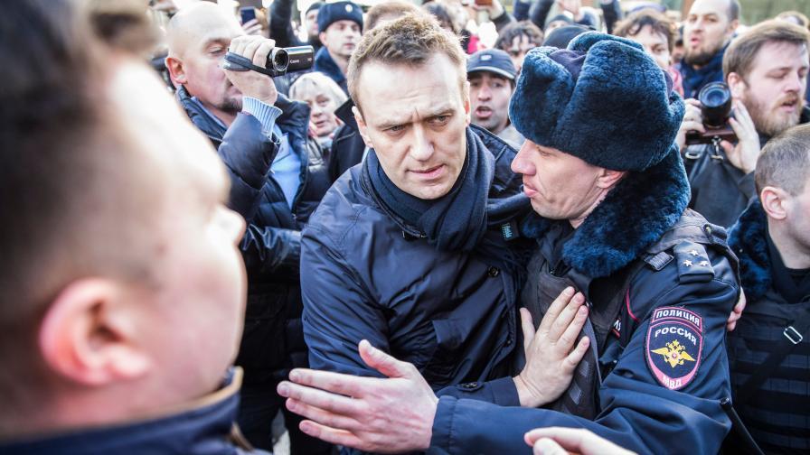 Задържаха Навални по време на митинг в Москва