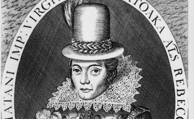 Покахонтас след като се жени за Джон Ролф, приема християнството и името Ребека и започва да се облича като европейка