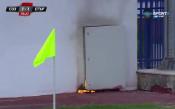 Електрическо табло се запали на стадиона в Созопол