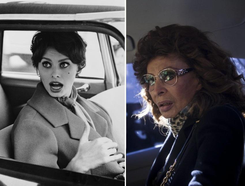 София Лорен през 1959 г. и София Лорен през 2016 г.