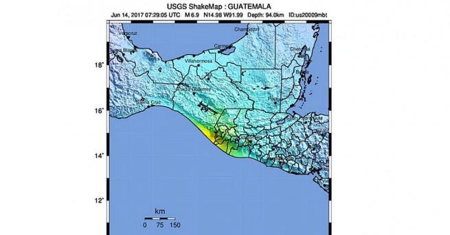 Силно земетресение беше регистрирано в югозападната част на Гватемала близо