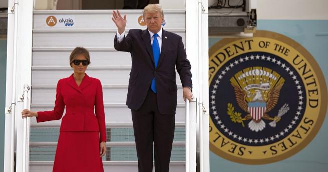 Президентът на САЩ Доналд Тръмп пристигна заедно със съпругата си