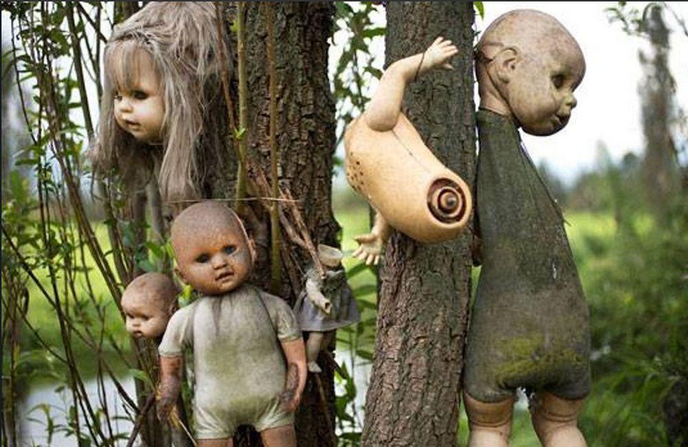 <strong>Островът на куклите (Мексико) </strong><br> Това е необитаем остров в Сочимилко, Мексико. Според легендата едно момиче се удавило в каналите около острова, след което на брега започнали да изплуват кукли. Единственият жител на острова започнал да събира куклите и да ги закача по дърветата в памет на починалото момиченце