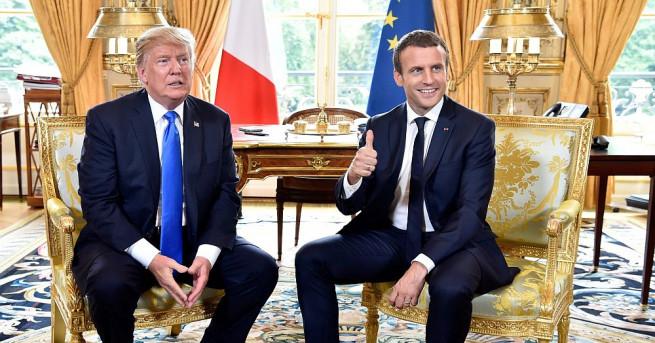 Президентите на САЩ и Франция Доналд Тръмп и Еманюел Макрон