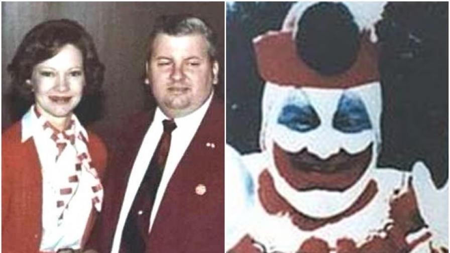 Джон Гейси до първата дама Розалин Картър/ Джон Гейсиоблечен като клоун за детско парти.