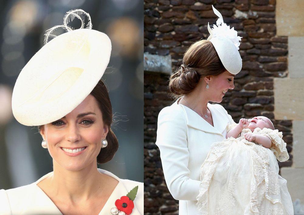На официано посещение в Белгия на 30 и 31 юли херцогиня Катрин беше избрала рокля на дизайнера Александър Маккуин. Същата рокля тя носеше и на кръщенето на принцеса Шарлот през 2015 година. Този път Кейт беше комбинирала любимия си тоалет с прекрасна бяла шапка, а на ревера си носеше брошка с червено цвете.   На кръщенето на Шарлот тя бе съчетала роклята със семпла бяла шапка.