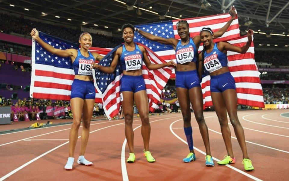 Американките грабнаха титлата в щафетата 4 по 400 метра