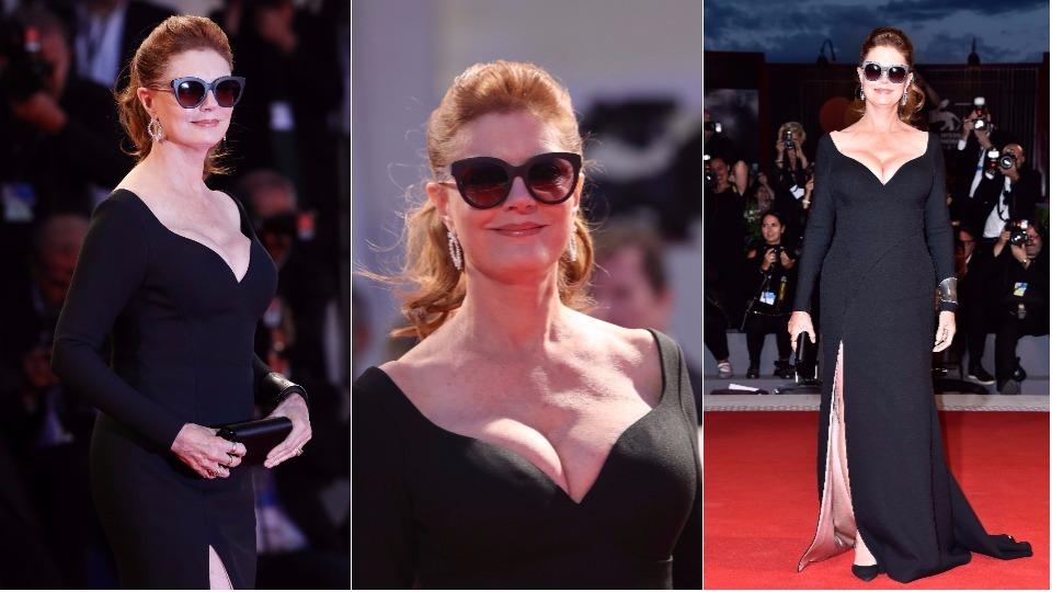 Сюзън Сарандън прикова погледите с дръзко деколте и секси рокля