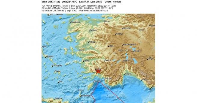 Земетресение с магнитуд 5 бе регистрирано в Югозападна Турция в