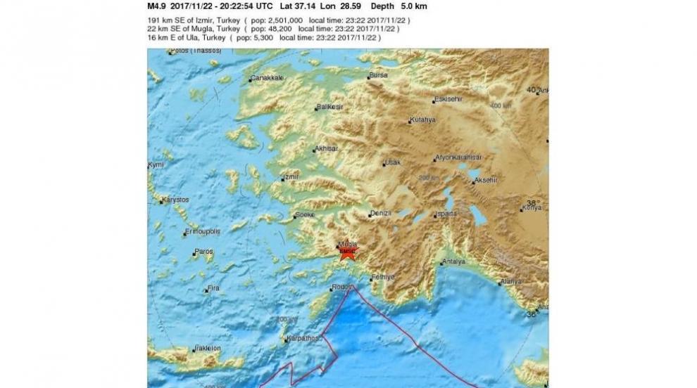 5 по Рихтер разлюля Югозападна Турция
