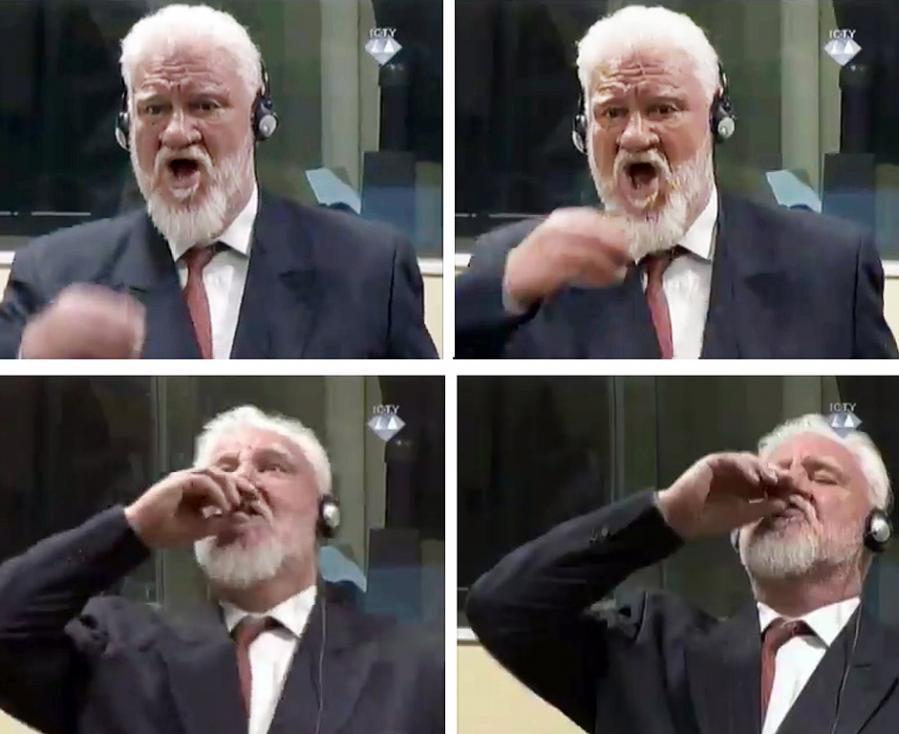 - Босненският хърватин Слободан Праляк отпи от шише, в което твърди, че има отрова, и извика, че отхвърля решението на Межуднародния трибунал