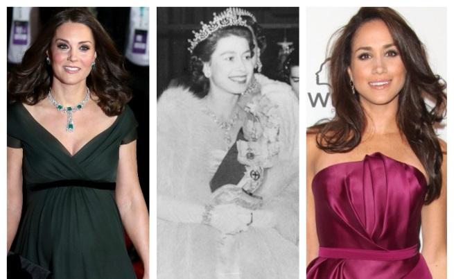 Разликите между Кейт, Меган и кралицата, когато е била на годините им
