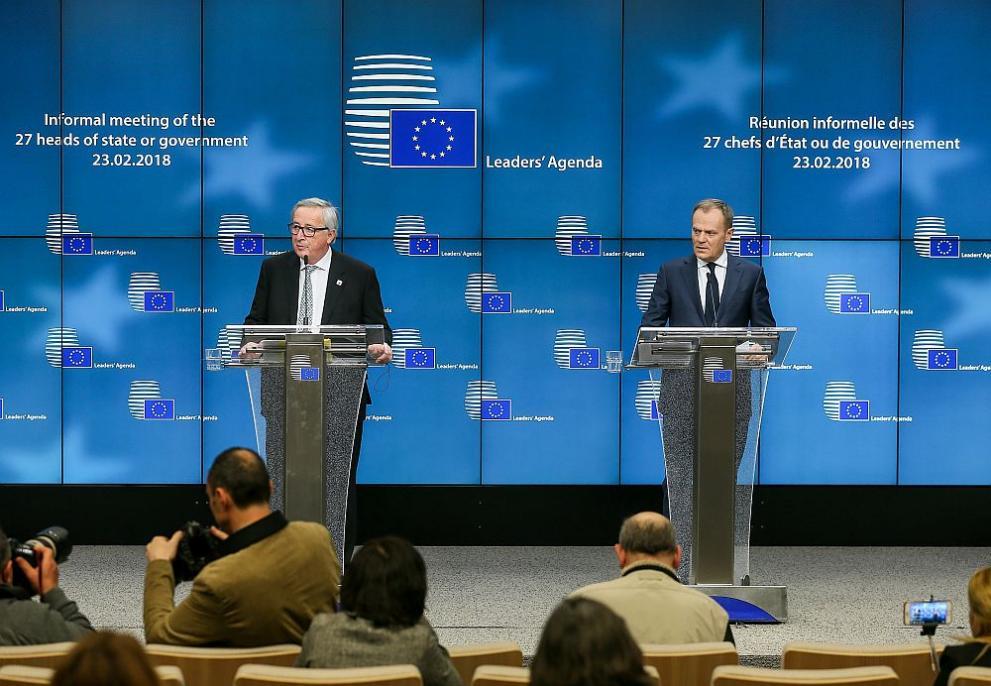 Председателят на Европейския съвет Доналд Туск и председателят на ЕК Жан-Клод Юнкер
