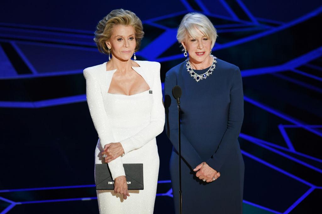 """Джейн Фонда и Хелън Мирън по време на 90-ата церемония по връчването на наградите """"Оскар"""""""