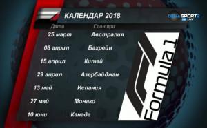 Календарът за сезон 2018 във Формула 1