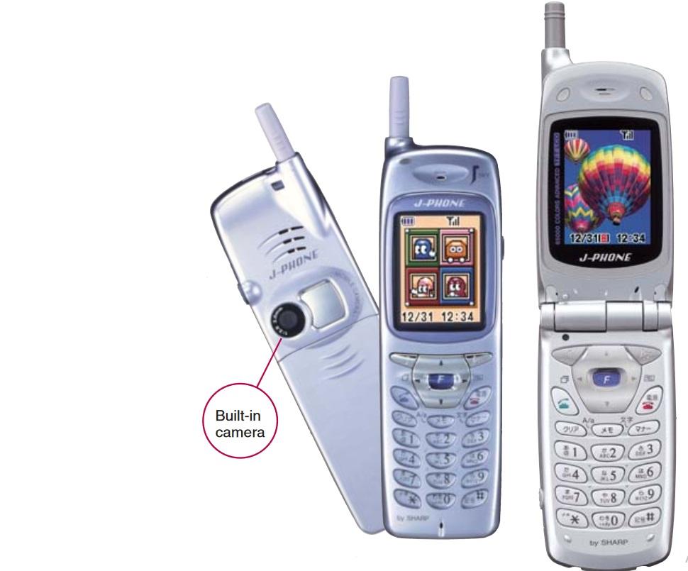 """J-SH04 - първият мобилен телефон с вградена камера, произведен от """"Sharp"""" през 2000 г."""