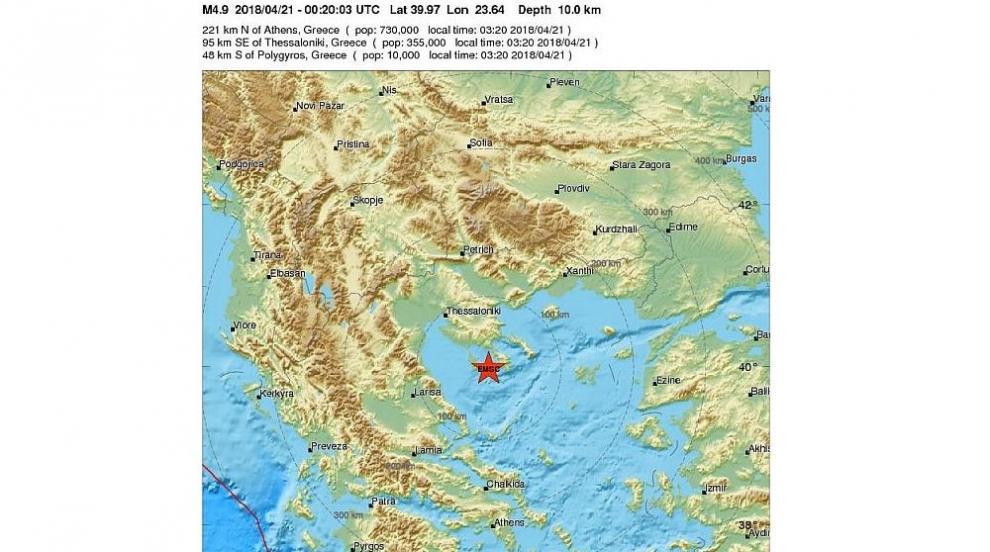 Земетресение с магнитуд 4.9 по Рихтер в Гърция тази нощ