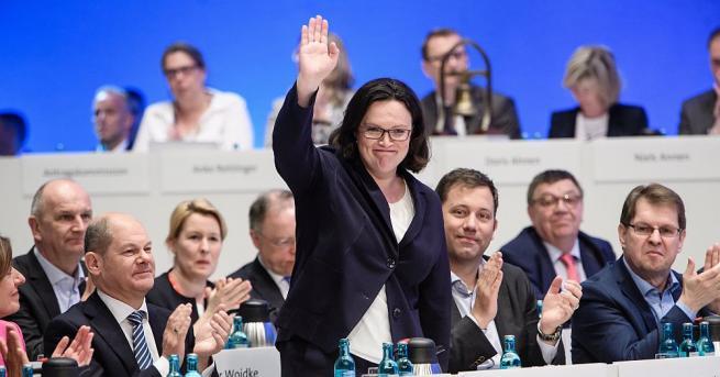 Германската социалдемократическата партия (ГСДП) избра за свой председател бившата министърка