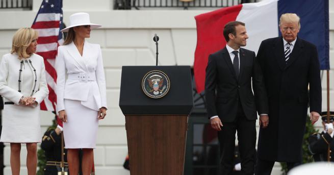 Мелания Тръмп и Брижит Макрон напуснаха Белия дом, за да