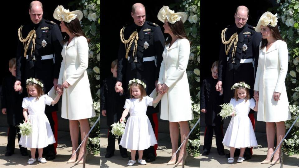 <p>Сладки мигове на Кейт Мидълтън и принц Уилям и децата им принцеса Шарлот и принц Джордж по време на сватбената церемония. Принц Джордж е по-срамежлив и се крие зад татко Уилям...</p>