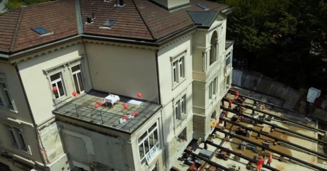 В швейцарския град Санкт Гален преместват сграда с тегло 3600