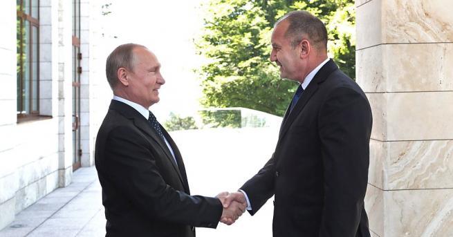Президентът на Русия Владимир Путин и неговият български колега Румен