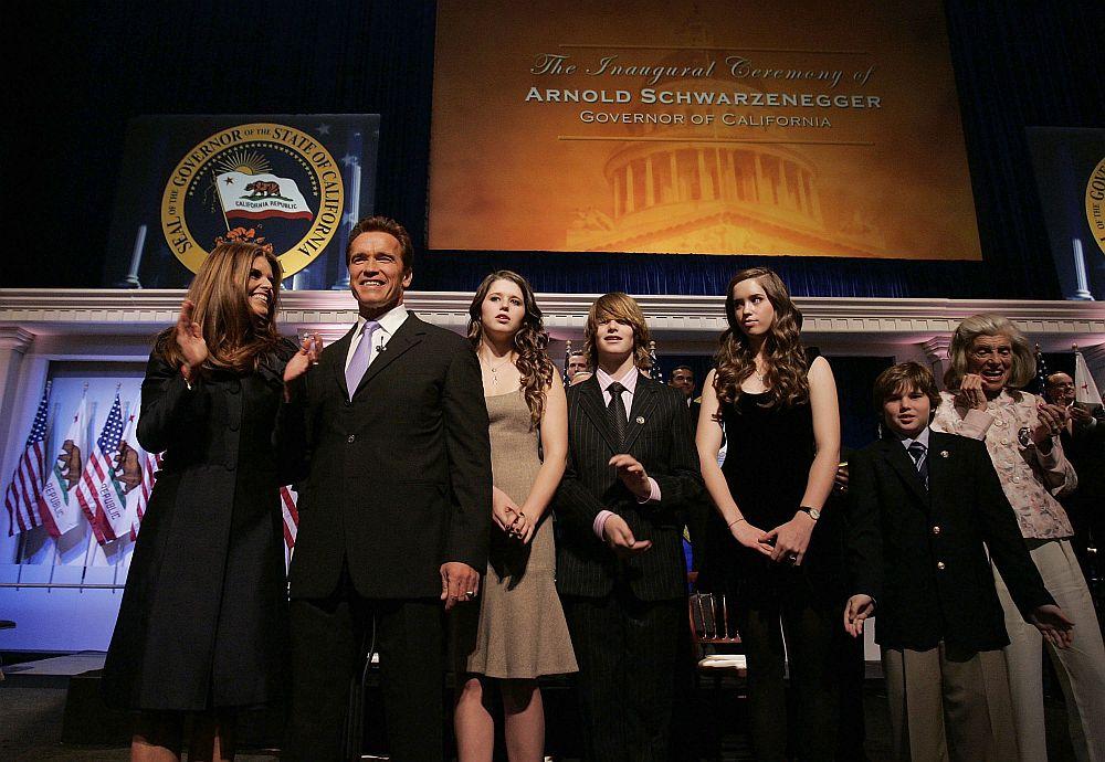Семейството на Арнолд Шварценегер при встъпването му в длъжност като губернатор на щата Калифорния втори мандат през 2007 година