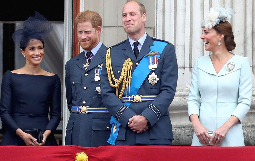 Херцогиня Меган, принц Хари, принц Уилям и херцогиня Катрин