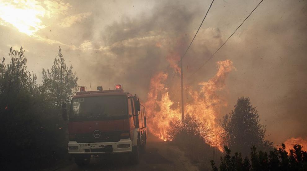 Пожар на гръцкия остров Евбея доведе до евакуацията на две села