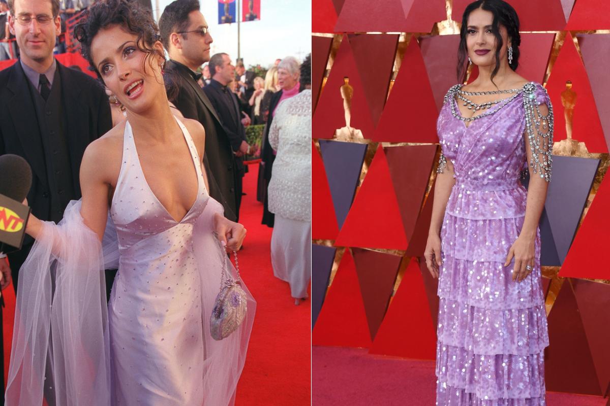 Салма Хайек обича лилавото - хващаме я на червения килим с тоалети в един цвят и 18 години разлика.