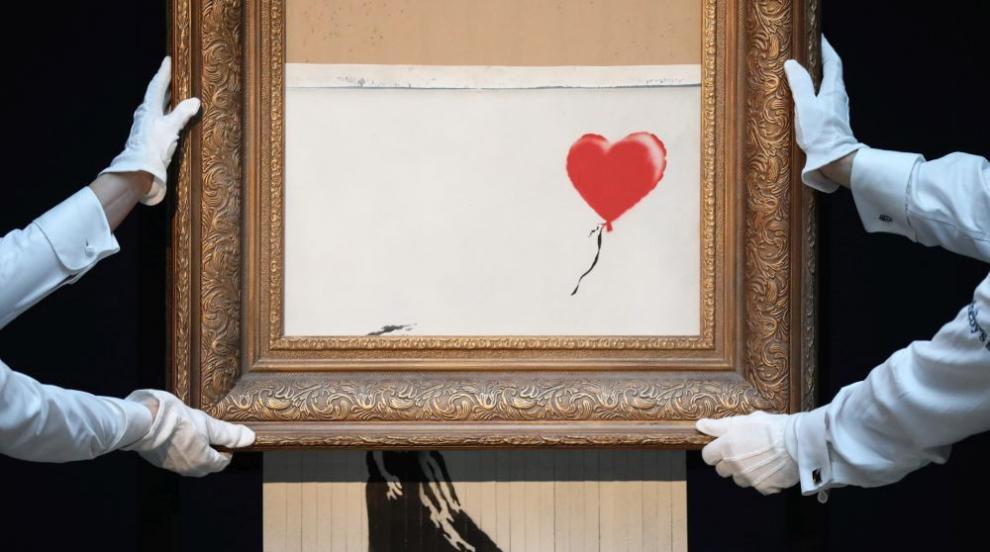 """Самоунищожението на картината на Банкси """"не минало по план"""" (ВИДЕО)"""